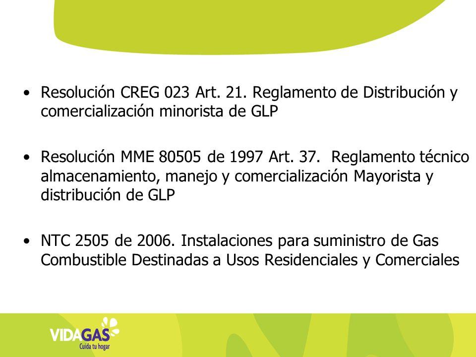Resolución CREG 023 Art. 21. Reglamento de Distribución y comercialización minorista de GLP Resolución MME 80505 de 1997 Art. 37. Reglamento técnico a