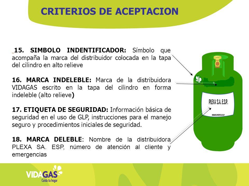 15. SIMBOLO INDENTIFICADOR: Símbolo que acompaña la marca del distribuidor colocada en la tapa del cilindro en alto relieve 16. MARCA INDELEBLE: Marca