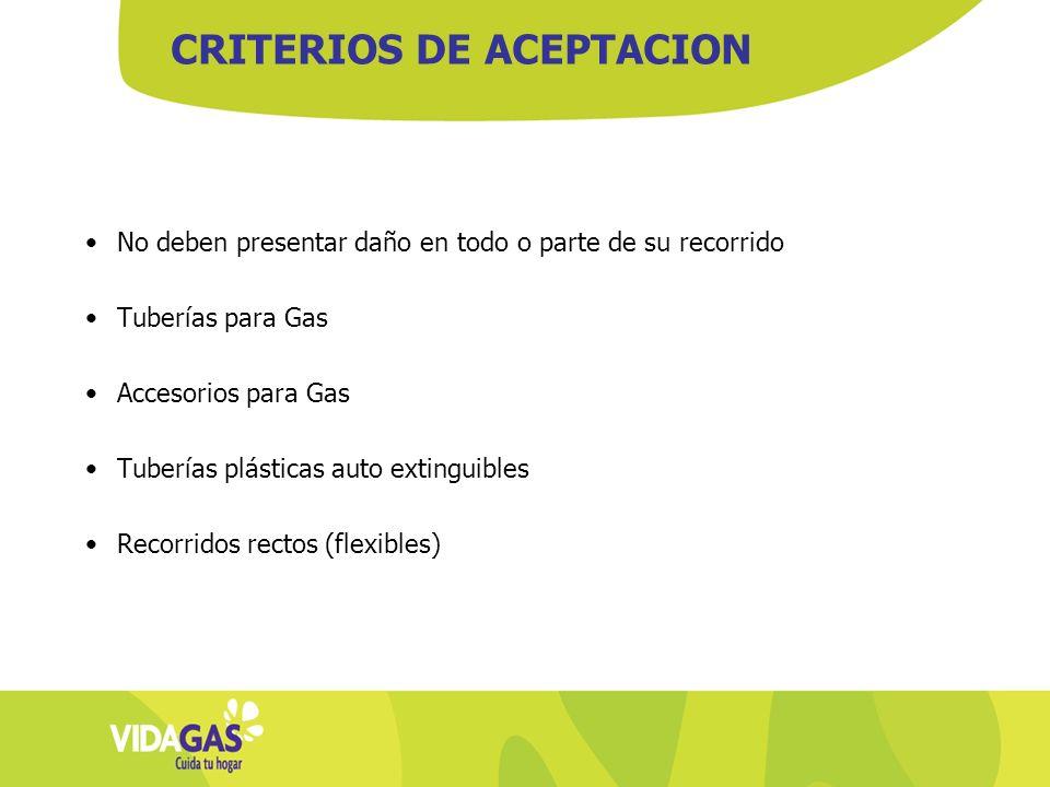 No deben presentar daño en todo o parte de su recorrido Tuberías para Gas Accesorios para Gas Tuberías plásticas auto extinguibles Recorridos rectos (