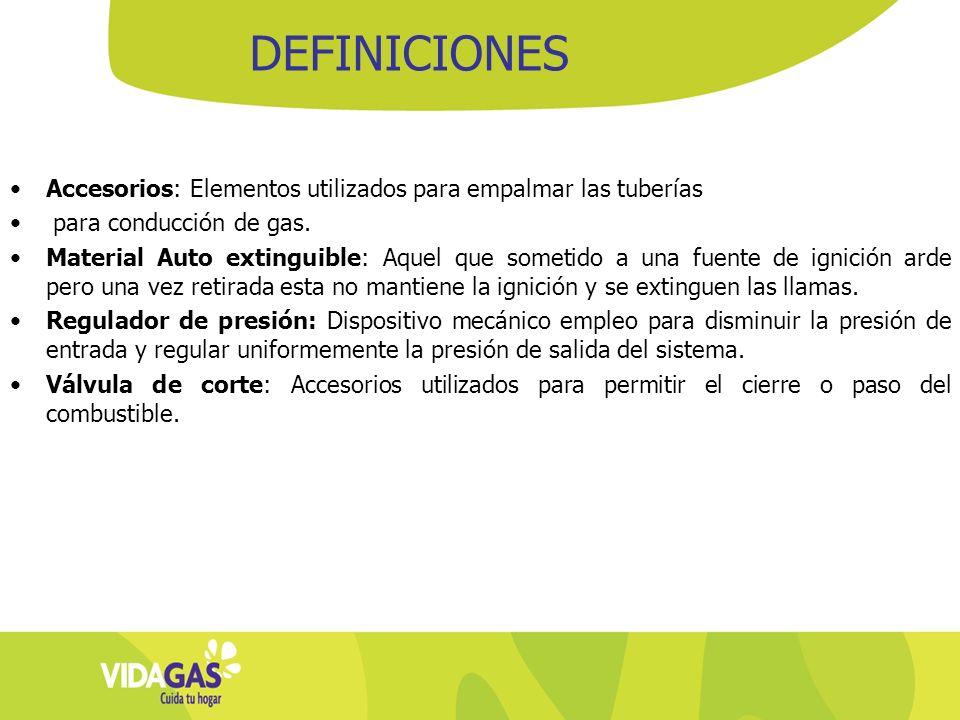 Accesorios: Elementos utilizados para empalmar las tuberías para conducción de gas. Material Auto extinguible: Aquel que sometido a una fuente de igni