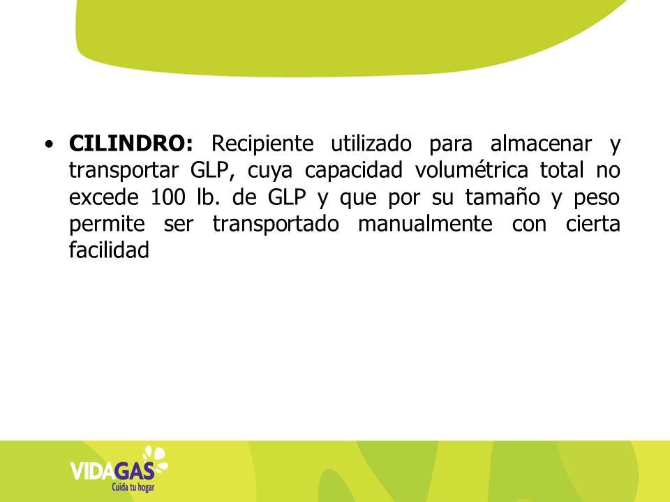 CILINDRO: Recipiente utilizado para almacenar y transportar GLP, cuya capacidad volumétrica total no excede 100 lb. de GLP y que por su tamaño y peso