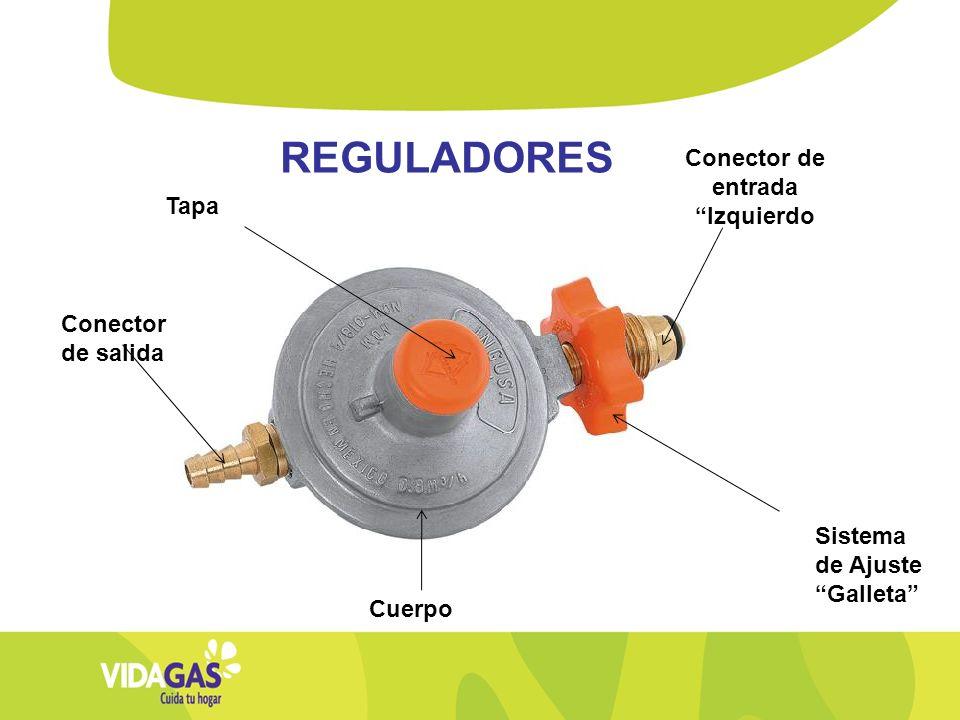 REGULADORES Conector de salida Tapa Cuerpo Sistema de Ajuste Galleta Conector de entrada Izquierdo