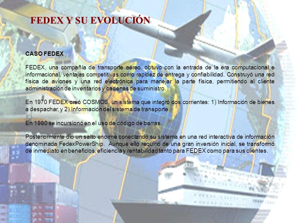 CASO FEDEX FEDEX, una compañía de transporte aéreo, obtuvo con la entrada de la era computacional e informacional, ventajas competitivas como rapidez de entrega y confiabilidad.