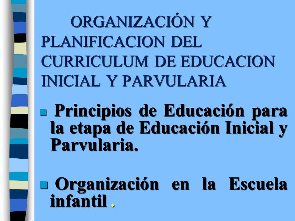 ORGANIZACIÓN Y PLANIFICACION DEL CURRICULUM DE EDUCACION INICIAL Y PARVULARIA n Principios de Educación para la etapa de Educación Inicial y Parvulari
