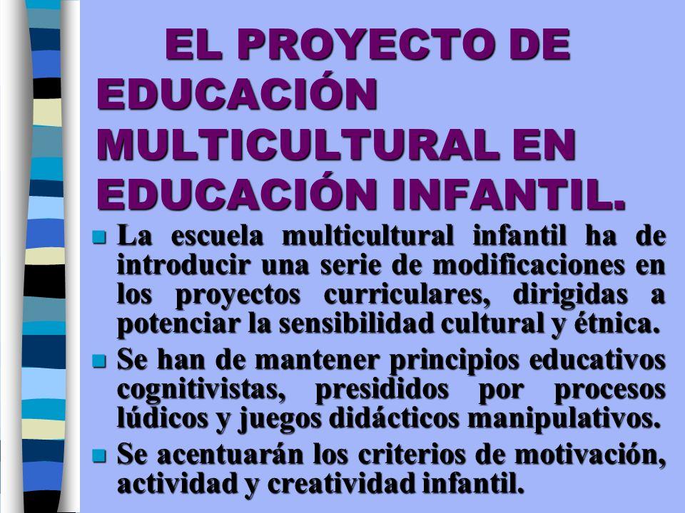 EL PROYECTO DE EDUCACIÓN MULTICULTURAL EN EDUCACIÓN INFANTIL. n La escuela multicultural infantil ha de introducir una serie de modificaciones en los