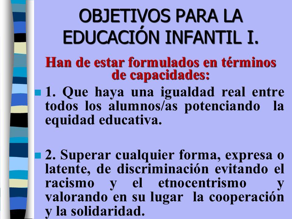 OBJETIVOS PARA LA EDUCACIÓN INFANTIL I. n 1. Que haya una igualdad real entre todos los alumnos/as potenciando la equidad educativa. n 2. Superar cual