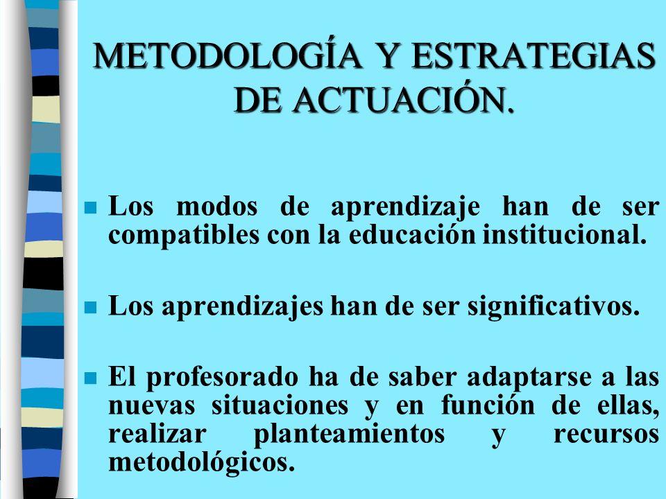 METODOLOGÍA Y ESTRATEGIAS DE ACTUACIÓN. n Los modos de aprendizaje han de ser compatibles con la educación institucional. n Los aprendizajes han de se