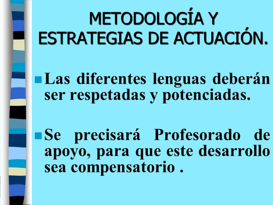 METODOLOGÍA Y ESTRATEGIAS DE ACTUACIÓN. n Las diferentes lenguas deberán ser respetadas y potenciadas. n Se precisará Profesorado de apoyo, para que e