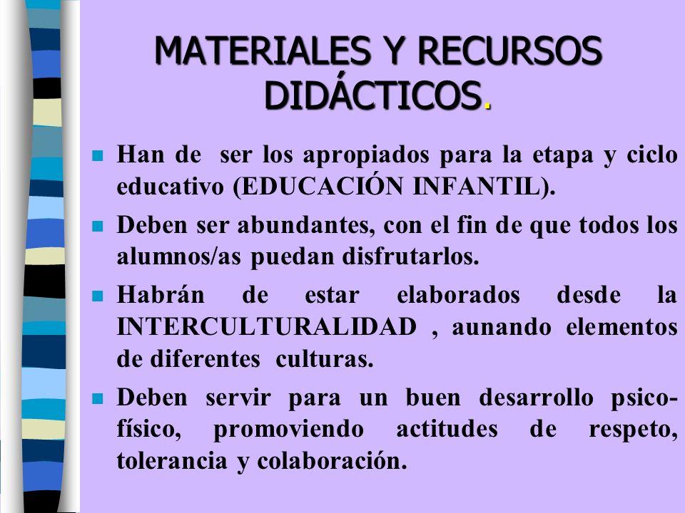 MATERIALES Y RECURSOS DIDÁCTICOS. n Han de ser los apropiados para la etapa y ciclo educativo (EDUCACIÓN INFANTIL). n Deben ser abundantes, con el fin