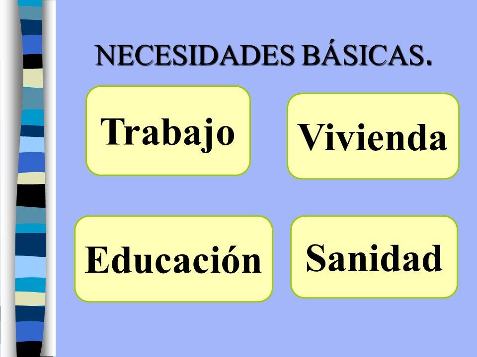 NECESIDADES BÁSICAS. Trabajo Vivienda Sanidad Educación