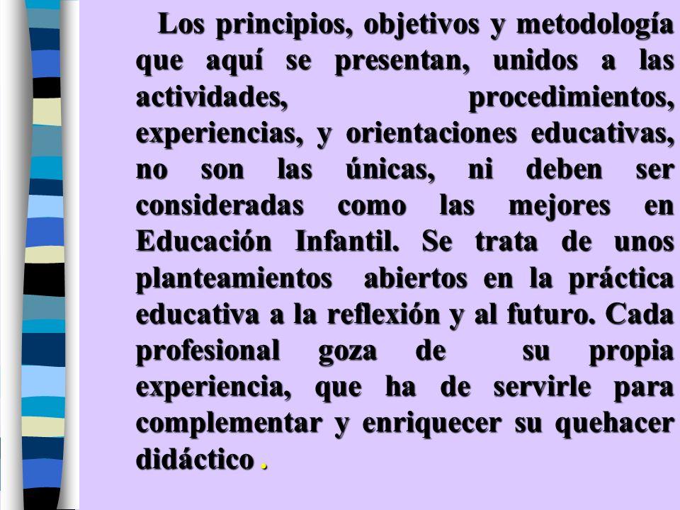Los principios, objetivos y metodología que aquí se presentan, unidos a las actividades, procedimientos, experiencias, y orientaciones educativas, no