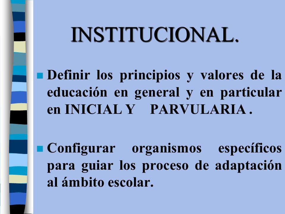 INSTITUCIONAL. n Definir los principios y valores de la educación en general y en particular en INICIAL Y PARVULARIA. n Configurar organismos específi