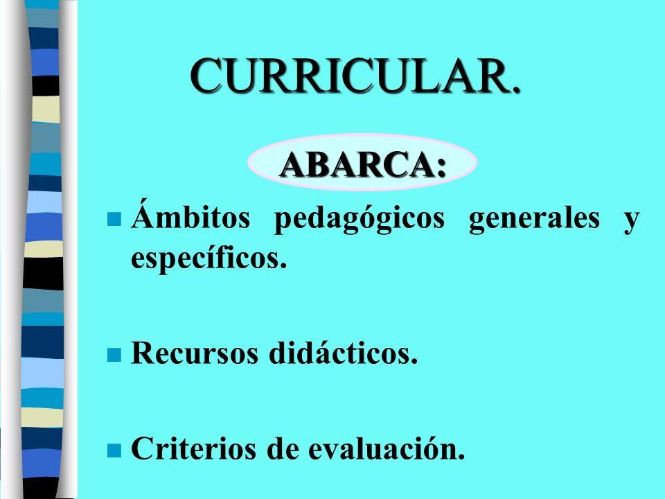 CURRICULAR. n Ámbitos pedagógicos generales y específicos. n Recursos didácticos. n Criterios de evaluación. ABARCA: