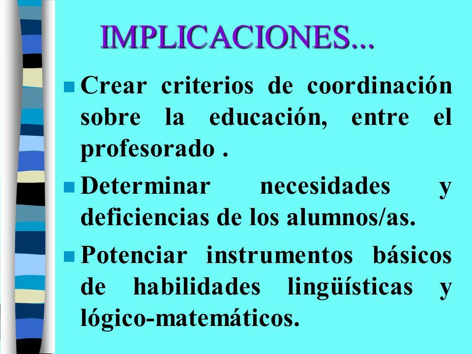 IMPLICACIONES... n Crear criterios de coordinación sobre la educación, entre el profesorado. n Determinar necesidades y deficiencias de los alumnos/as