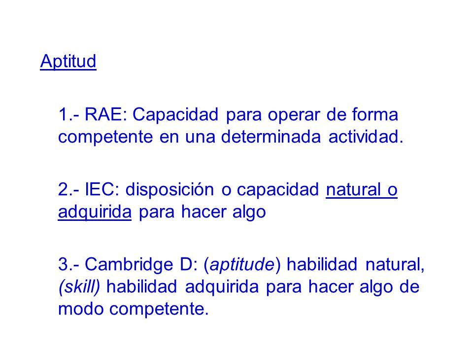 Aptitud 1.- RAE: Capacidad para operar de forma competente en una determinada actividad. 2.- IEC: disposición o capacidad natural o adquirida para hac