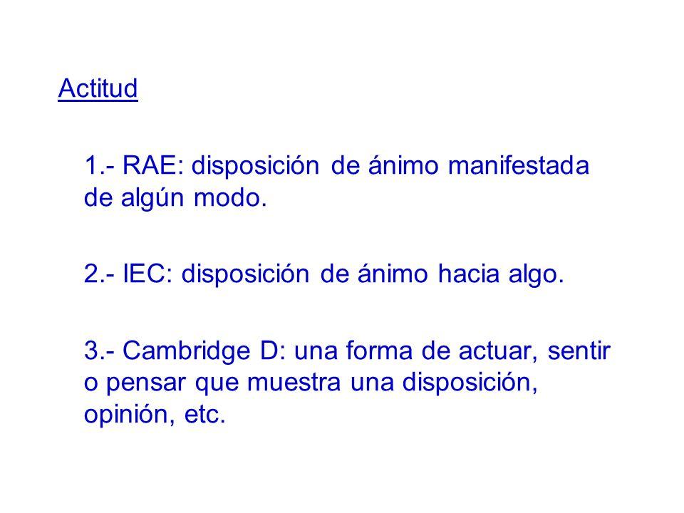 Actitud 1.- RAE: disposición de ánimo manifestada de algún modo. 2.- IEC: disposición de ánimo hacia algo. 3.- Cambridge D: una forma de actuar, senti
