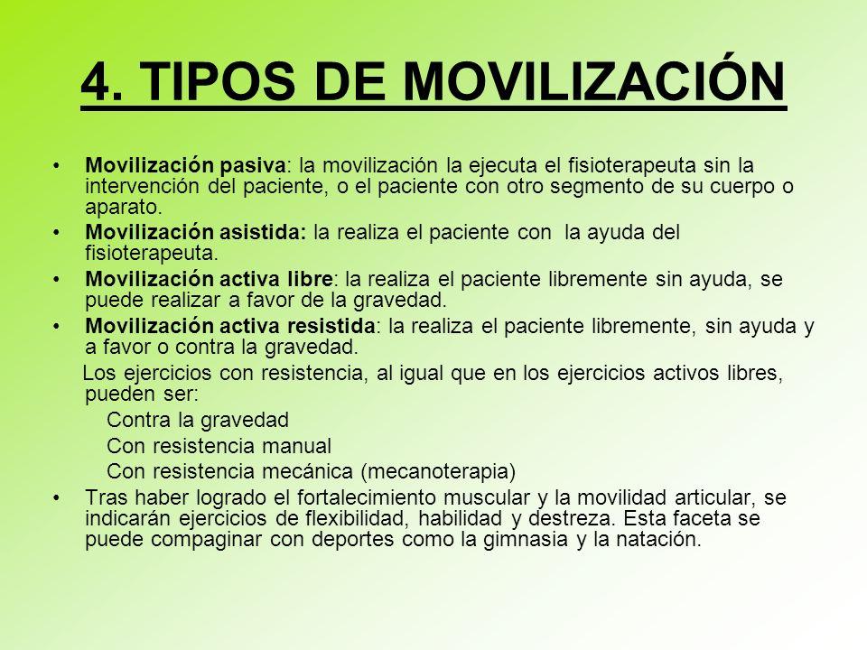 4. TIPOS DE MOVILIZACIÓN Movilización pasiva: la movilización la ejecuta el fisioterapeuta sin la intervención del paciente, o el paciente con otro se
