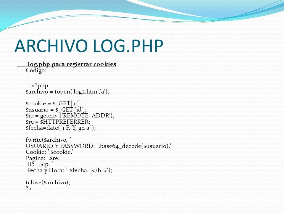 ARCHIVO LOG.PHP log.php para registrar cookies Código: ); fclose($archivo); ?>