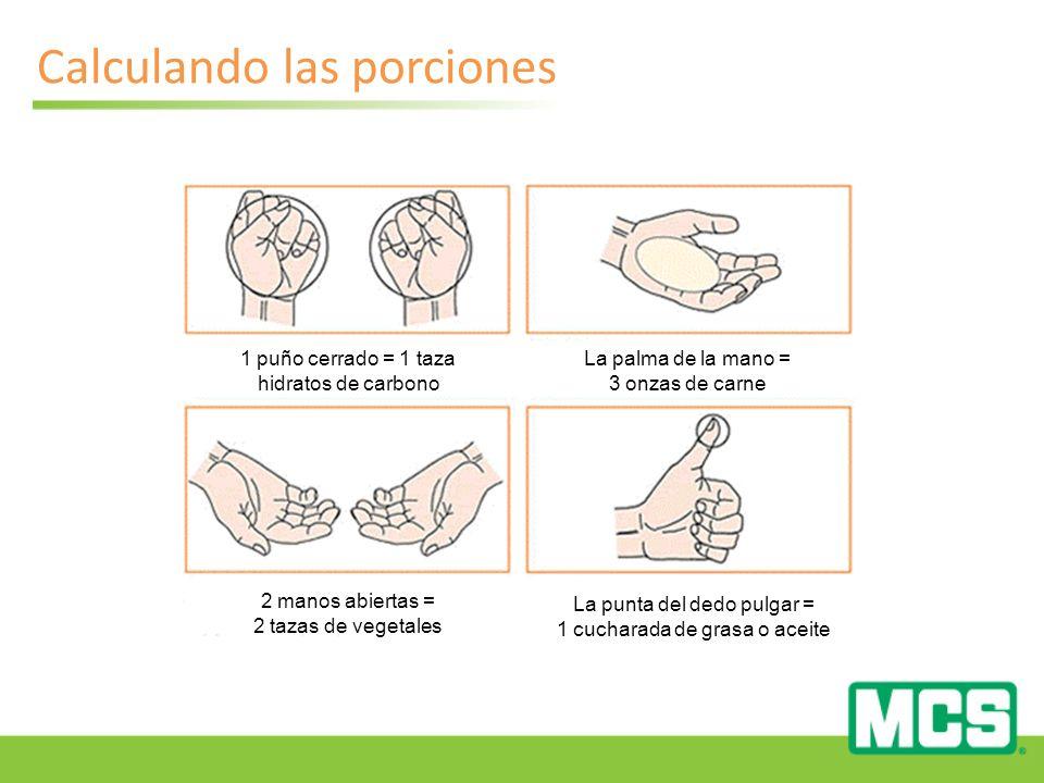 Calculando las porciones 1 puño cerrado = 1 taza hidratos de carbono 2 manos abiertas = 2 tazas de vegetales La palma de la mano = 3 onzas de carne La punta del dedo pulgar = 1 cucharada de grasa o aceite