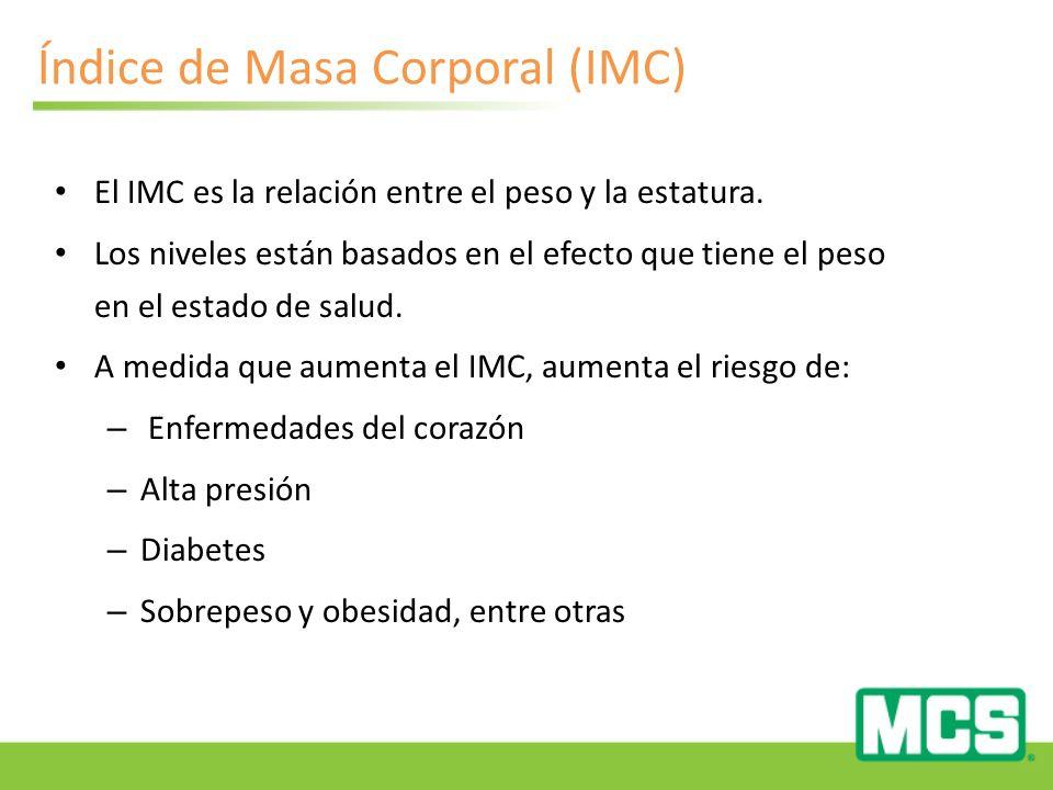 Índice de Masa Corporal (IMC) El IMC es la relación entre el peso y la estatura.
