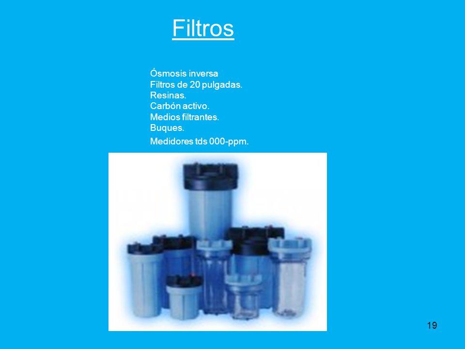 Filtros Ósmosis inversa Filtros de 20 pulgadas.Resinas.