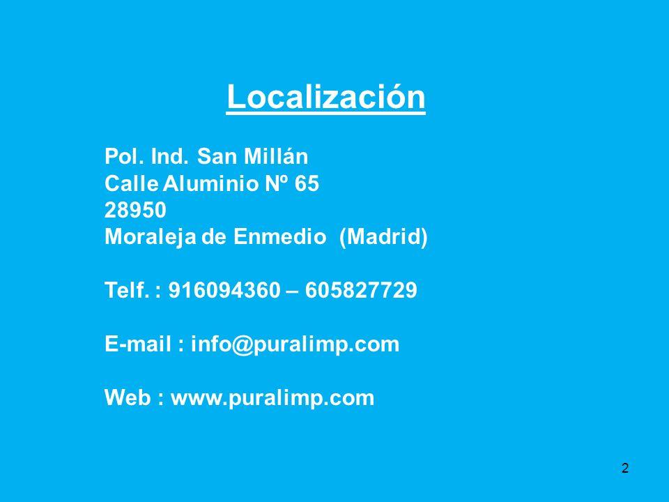Localización Pol.Ind. San Millán Calle Aluminio Nº 65 28950 Moraleja de Enmedio (Madrid) Telf.