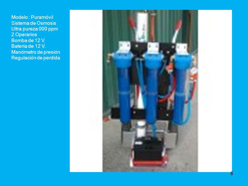 Modelo : Puramóvil Sistema de Osmosis Ultra pureza 000 ppm 2 Operarios Bomba de 12 V.