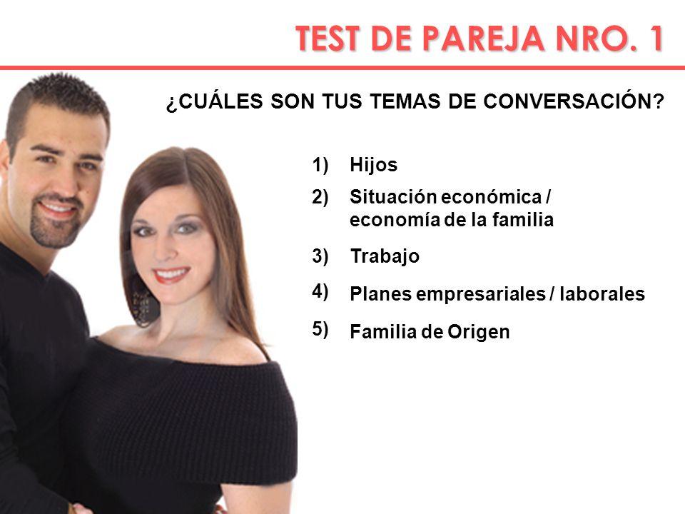 TEST DE PAREJA NRO. 1 TEST DE PAREJA NRO. 1 ¿CUÁLES SON TUS TEMAS DE CONVERSACIÓN? 1) 2) 3) Hijos Situación económica / economía de la familia Trabajo