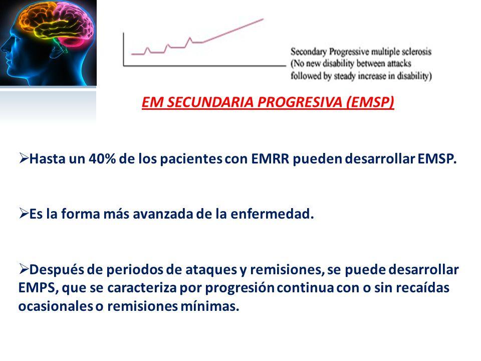 EM SECUNDARIA PROGRESIVA (EMSP) Hasta un 40% de los pacientes con EMRR pueden desarrollar EMSP.