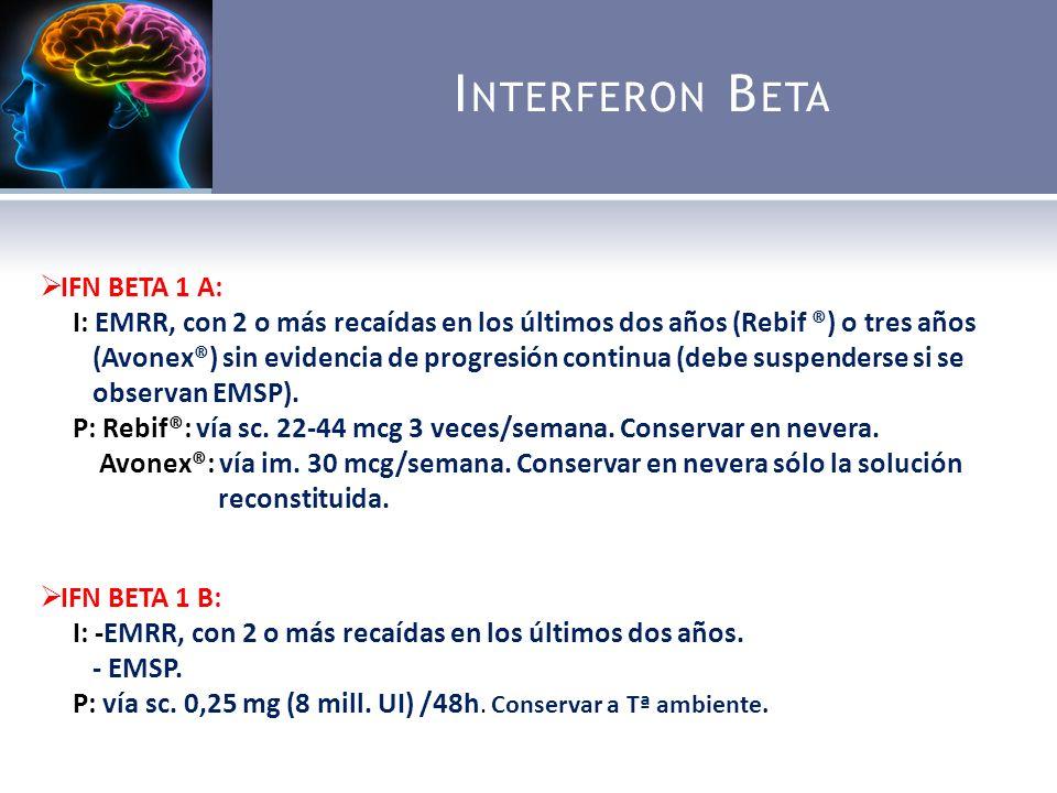 I NTERFERON B ETA IFN BETA 1 A: I: EMRR, con 2 o más recaídas en los últimos dos años (Rebif ®) o tres años (Avonex®) sin evidencia de progresión continua (debe suspenderse si se observan EMSP).