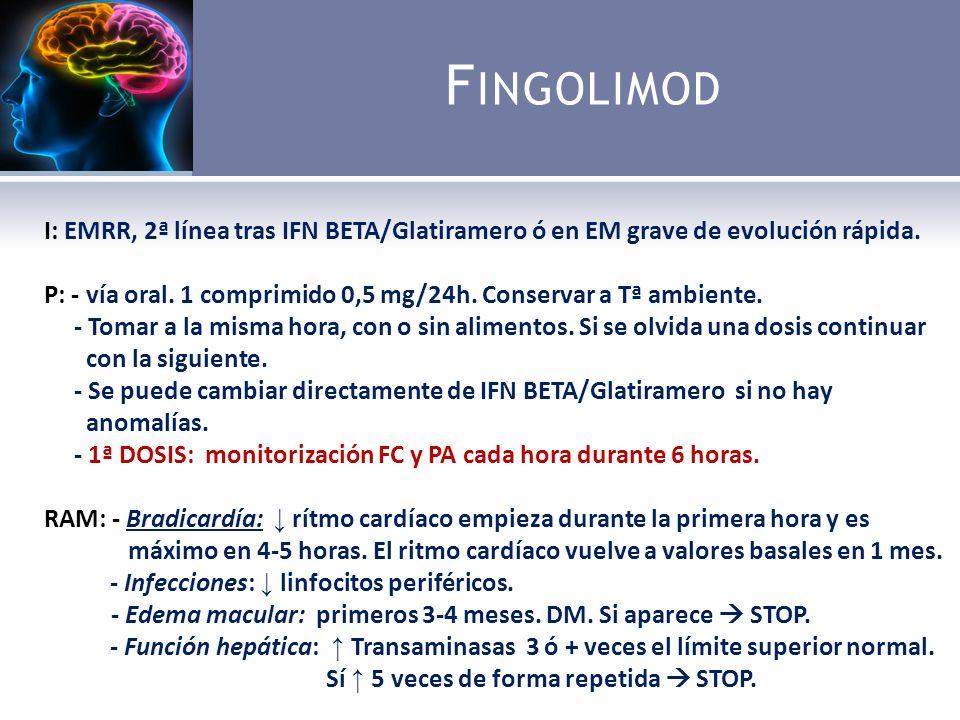 F INGOLIMOD I: EMRR, 2ª línea tras IFN BETA/Glatiramero ó en EM grave de evolución rápida.