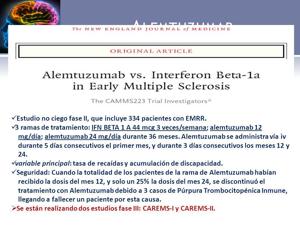A LEMTUZUMAB Ac monoclonal humanizado tipo IgG1k contra la glucoproteina CD52, que se expresa en la mayoría de células del sistema inmune (linfocitos B y T, monocitos y eosinofilos), lo que provoca la depleción de estas células y con ello la toxicidad celular mediada por Ac.
