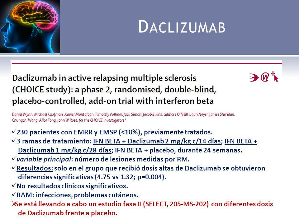 D ACLIZUMAB Ac monoclonal humanizado IgG1 contra el antígeno CD25, que actúa como receptor de la IL-2, molécula fundamental en los procesos de activación del linfocito T y regulación de los linfocitos CD56.