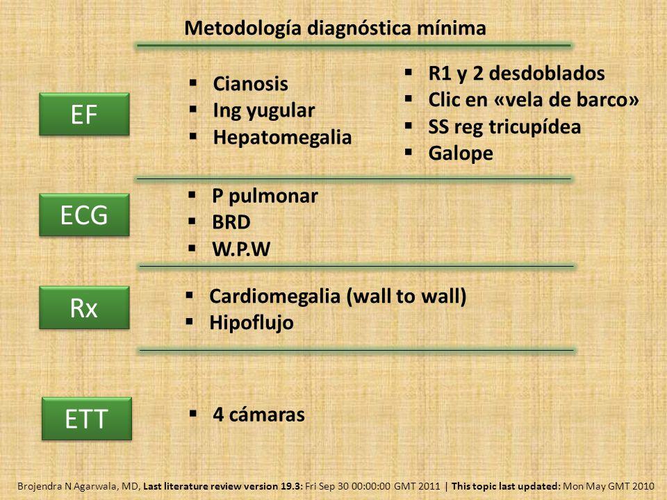 Metodología diagnóstica mínima EF ECG P pulmonar BRD W.P.W Rx Cardiomegalia (wall to wall) Hipoflujo Cianosis Ing yugular Hepatomegalia R1 y 2 desdobl