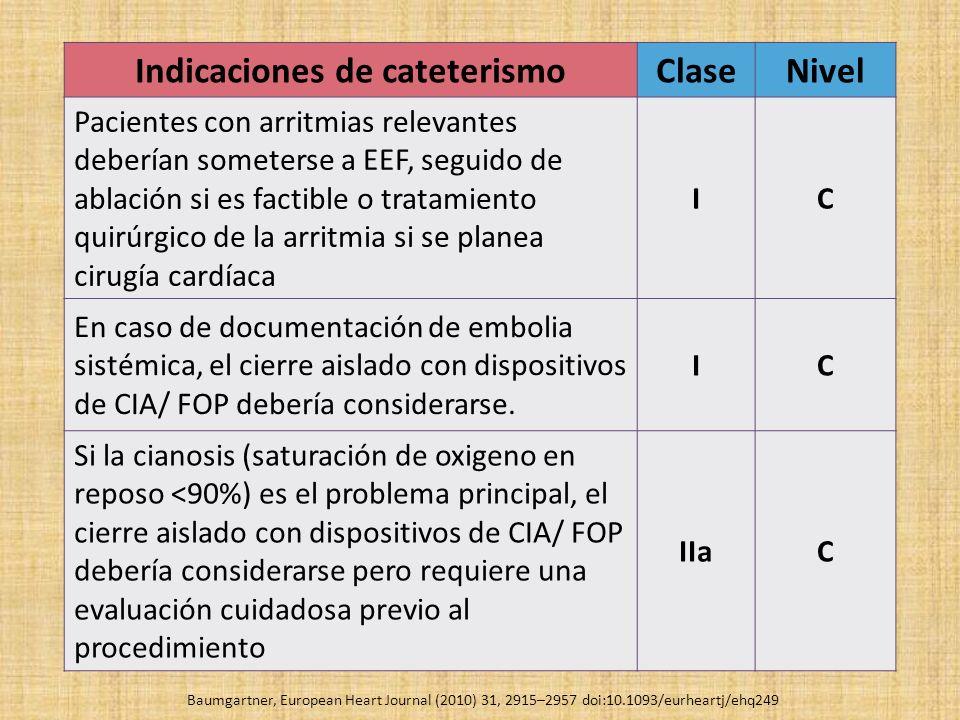 Indicaciones de cateterismoClaseNivel Pacientes con arritmias relevantes deberían someterse a EEF, seguido de ablación si es factible o tratamiento qu