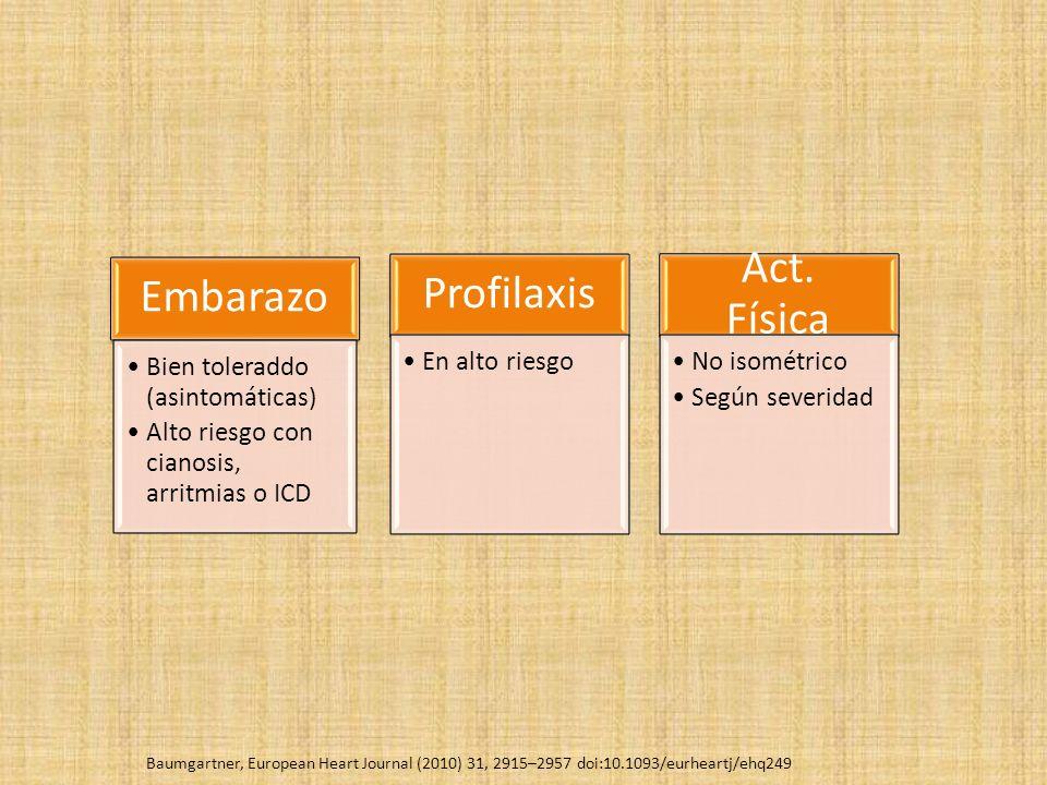 Embarazo Bien toleraddo (asintomáticas) Alto riesgo con cianosis, arritmias o ICD Profilaxis En alto riesgo Act.