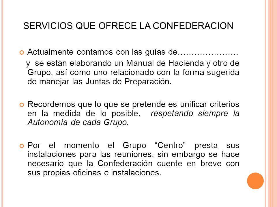 SERVICIOS QUE OFRECE LA CONFEDERACION Como ya se comentó, La Confederación ofrece también, Asesoramiento de tipo legal. Sin embargo uno de los princip