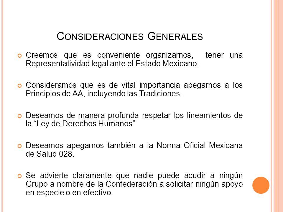 C ONSIDERACIONES G ENERALES Creemos que es conveniente organizarnos, tener una Representatividad legal ante el Estado Mexicano.