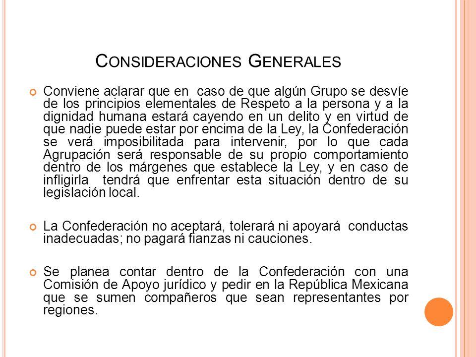 C ONSIDERACIONES G ENERALES Creemos que es conveniente organizarnos, tener una Representatividad legal ante el Estado Mexicano. Consideramos que es de