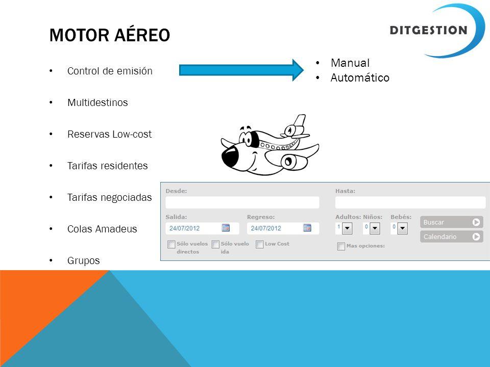 MOTOR AÉREO Control de emisión Multidestinos Reservas Low-cost Tarifas residentes Tarifas negociadas Colas Amadeus Grupos Manual Automático