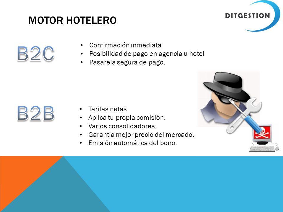 MOTOR HOTELERO Confirmación inmediata Posibilidad de pago en agencia u hotel Pasarela segura de pago. Tarifas netas Aplica tu propia comisión. Varios
