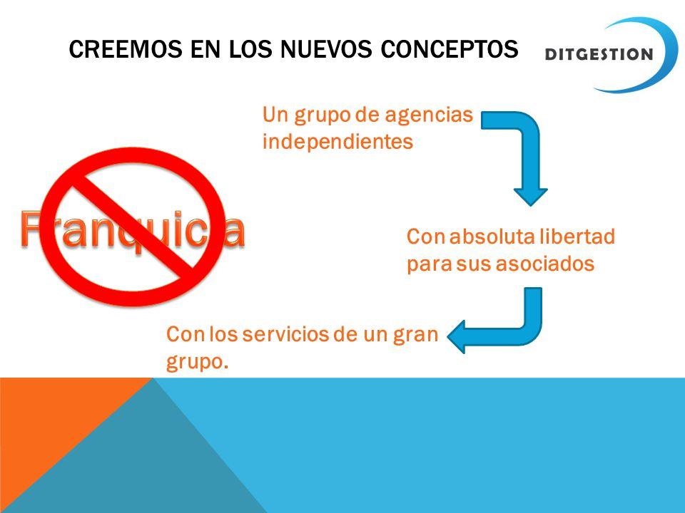 CREEMOS EN LOS NUEVOS CONCEPTOS Un grupo de agencias independientes Con absoluta libertad para sus asociados Con los servicios de un gran grupo.