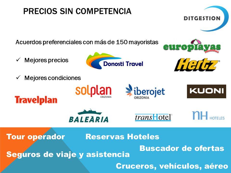 PRECIOS SIN COMPETENCIA Acuerdos preferenciales con más de 150 mayoristas Mejores precios Mejores condiciones Tour operadorReservas Hoteles Buscador d