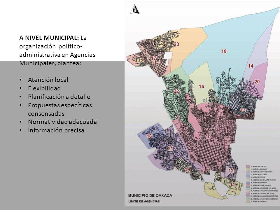 A NIVEL MUNICIPAL: La organización político- administrativa en Agencias Municipales, plantea: Atención local Flexibilidad Planificación a detalle Propuestas específicas consensadas Normatividad adecuada Información precisa