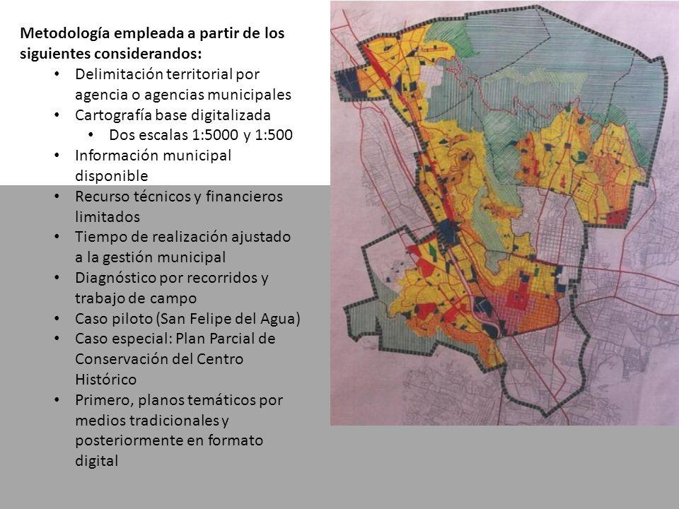 Metodología empleada a partir de los siguientes considerandos: Delimitación territorial por agencia o agencias municipales Cartografía base digitaliza