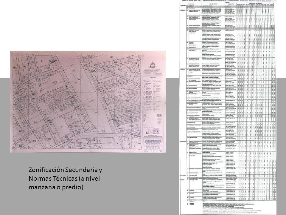 Zonificación Secundaria y Normas Técnicas (a nivel manzana o predio)