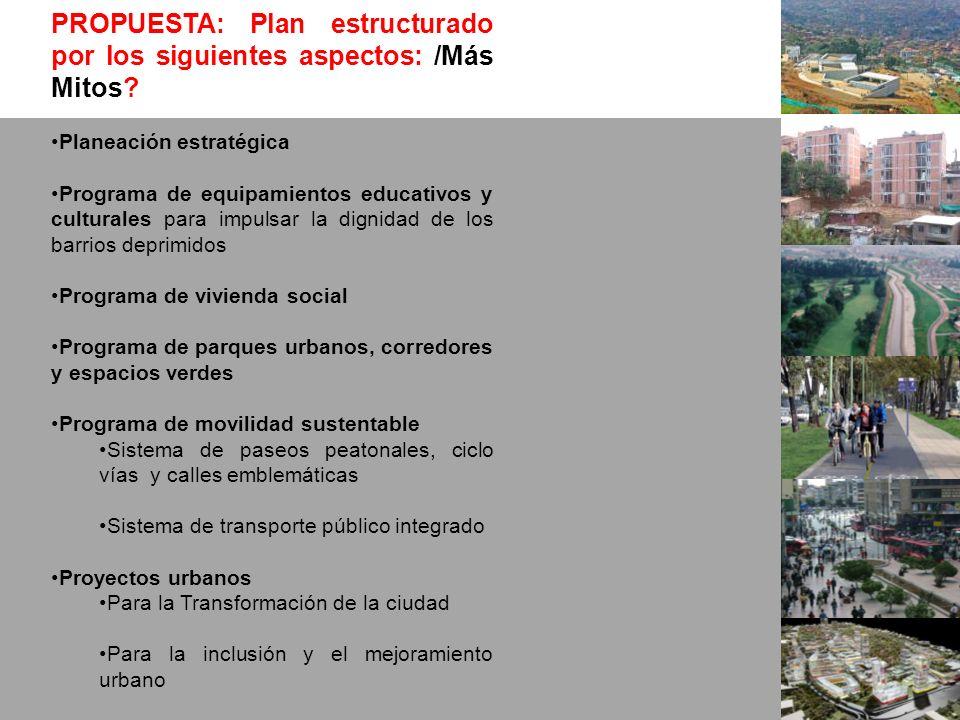 PROPUESTA: Plan estructurado por los siguientes aspectos: /Más Mitos? Planeación estratégica Programa de equipamientos educativos y culturales para im