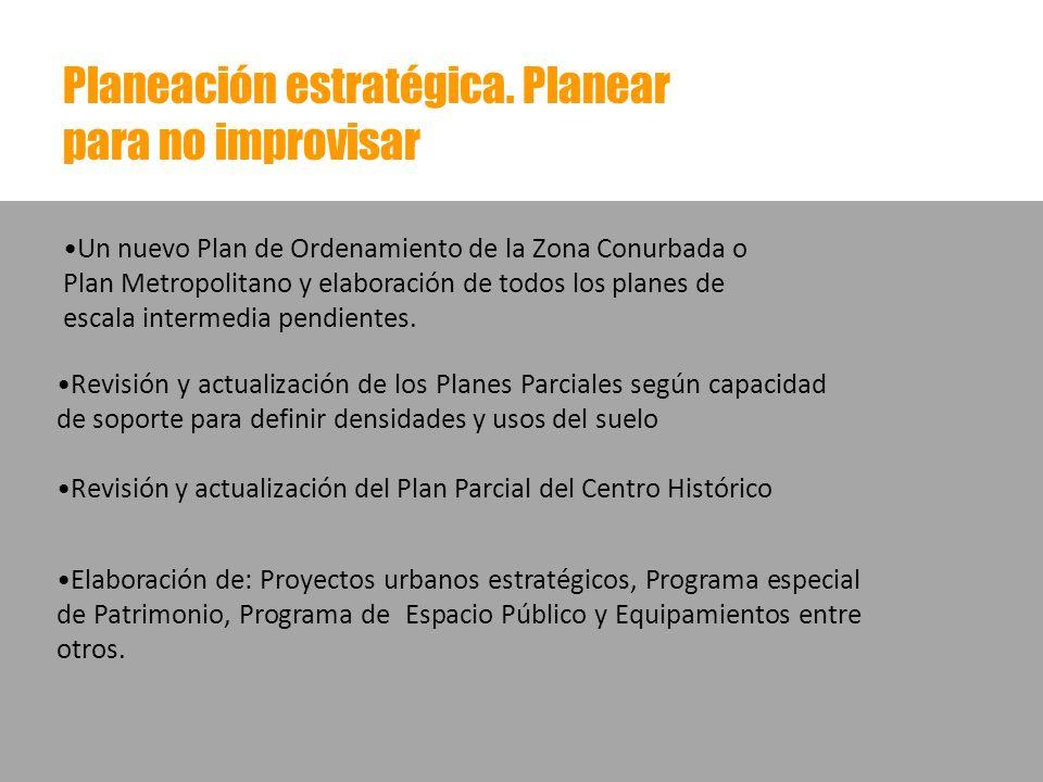 Planeación estratégica. Planear para no improvisar Revisión y actualización de los Planes Parciales según capacidad de soporte para definir densidades