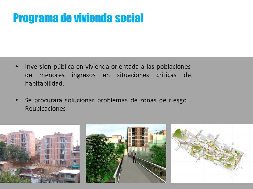 Programa de vivienda social Inversión pública en vivienda orientada a las poblaciones de menores ingresos en situaciones críticas de habitabilidad. Se