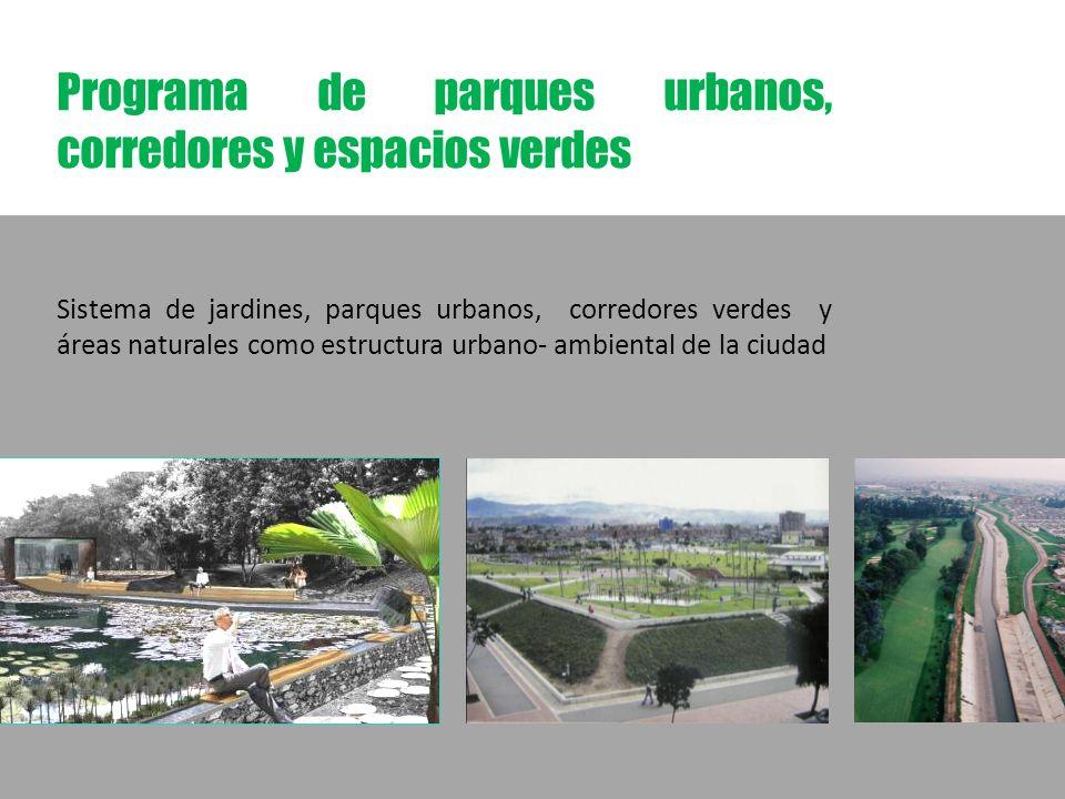 Programa de parques urbanos, corredores y espacios verdes Sistema de jardines, parques urbanos, corredores verdes y áreas naturales como estructura urbano- ambiental de la ciudad